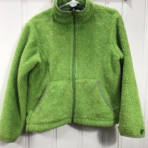 LL bean sherpa fleece jacket green size 5-6